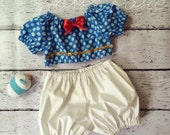 Donald Duck Inspired Everyday Dress Up PlaySet, Two Piece Crop Top and bloomers...Made to Order, size 6m-6