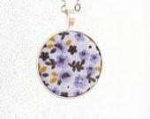Purple necklace flower necklace long pendant necklace boho jewelry bohemian necklace women gift idea lilac jewelry retro necklace