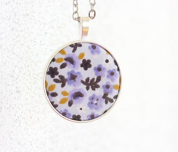 Purple necklace flower necklace long pendant necklace boho jewelry bohemian necklace women gift idea lilac jewelry retro necklace