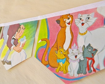 THE ARISTOCATS Banner Vintage Little Golden Book storybook Bunting Paper Children story book Decoration Eco Baby Shower Birthday Party