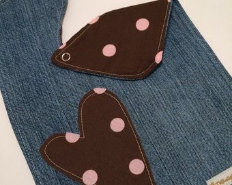 SALE Brown and Pink Heart and Jean Bib was 9.00