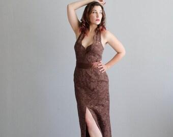 Vintage 1960s Lace Gown - 60s Halter Dress - Cioccolato Lace Gown