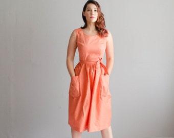 Vintage 1950s Wrap Dress - 50s Dress - Peach Pit Dress