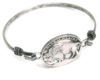 Buffalo Bracelet - Silver Metal Stamped Buffalo Coin Bangle Bracelet - Western - Symbolic Jewelry - Animal Jewelry - Coin Replica Bangle
