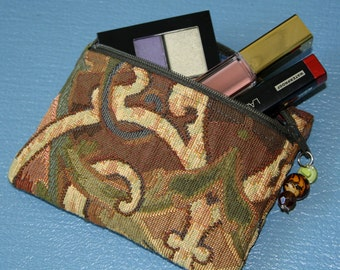 Upcycled Mini Makeup Cosmetic Bag Pouch Glass Bead