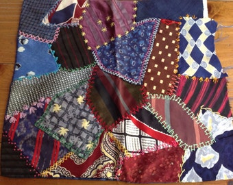 Vintage CRAZY QUILT Pillow Cover Made with Men's 1950s TIES