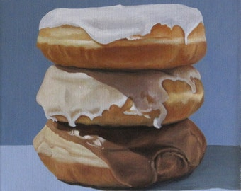 Donut Stack, Original Framed Still Life Oil Painting by Sheila Cantrell