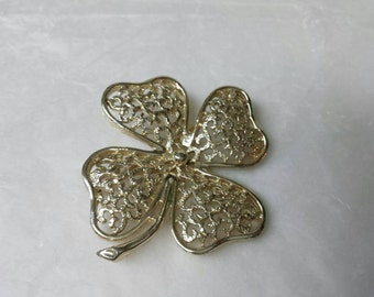 Clover Brooch By Sarah Coventry Gold tone 1972
