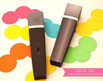 MICROPHONE Favor Box (Black): DIY Printable PDF - Instant Download