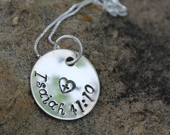 Isaiah 41:10, Religious Necklace, Christian Jewelry, Gift For Her, Graduation Gift, Sterling Silver Necklace, Faith, Confirmation Gift