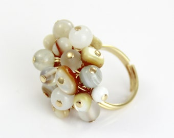 Seashells in the Sand - Cream White Gold Beaded Cluster Adjustable Ring Shell Glass - Big Chunky Cocktail Beach Fun Ring