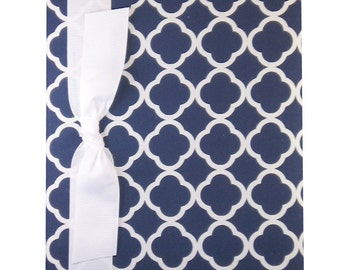 Tight Bound Baby Memory Book - Navy Quatrefoil Print