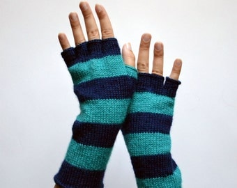 Striped Navy blue And Turquoise Fingerless Gloves - Half Finger Gloves - Striped Gloves - Fashion Gloves nO 120.