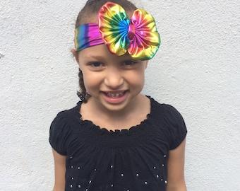 Rainbow Metallic Messy Bow Headwrap
