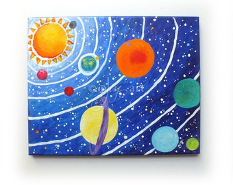 Art for Kids Room, Solar System No.10, 14x11 Acrylic Space Painting, Space Themed Nursery Decor