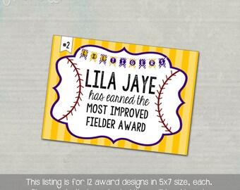 Set of 12, customized Softball, T-Ball, Baseball Award Certificate