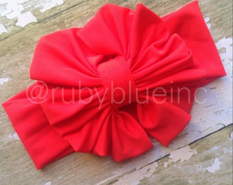 Red Messy Bow Head Wrap - Pool Safe