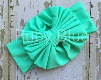 Mint Green Messy Bow Head Wrap - Pool Safe