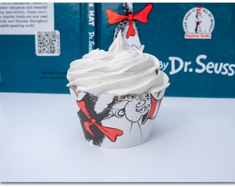 Cupcake Wrappers - The Cat in the Hat - Dr. Suess - Ready to ship
