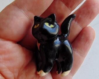 Terrarium Tuxedo Cat - Handmade Miniature Figurine - Terrarium Cat - Terrarium Miniature Figurine - Kitten Figurine - Pottery Animal