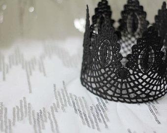 """Black Lace Crown - """"Large Floret"""" - fairytale, royalty, gothic, bridal crown, bachelorette party"""