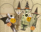 4 HALLOWEEN Trick or Treat Paper Ornaments Altered Art Witch Bat Boy