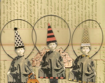 3 HALLOWEEN Party Girls Paper Ornaments Altered Art Trick or Treat