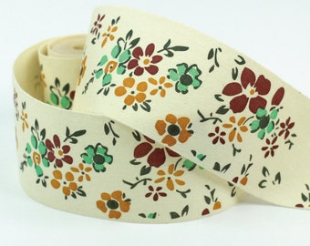 """Cotton Ribbon, Trim, Sewing Tape, Sewing Label, Fabric Label, Cotton Tag, Sew on Label - Flowers, Length 1 yard, Width 1 9/16"""" (CR43)"""