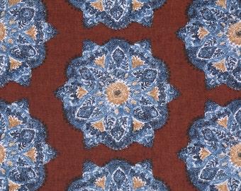 Suri Medallion Cognac decorative pillow cover suzani blue burnt red