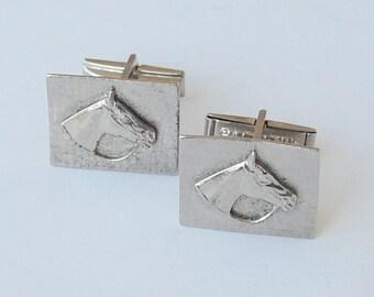 Horse Cufflinks, Silver Cufflinks, Men's Vintage Cufflinks, Forstar
