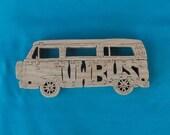 Vintage VW Bus Volkswagen Van Wooden Scroll saw Puzzle