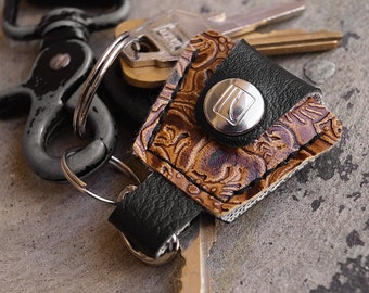 Western Guitar Pick Holder Keychain - Made of Recycled Vinyl