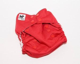 Red PUL Cloth Diaper - Cloth Diaper Cover - Cloth Pocket Diaper - AI2 Diaper - One Sized Purple Diaper - Velcro or Snaps
