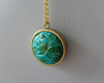 Turquoise brass necklace pendant