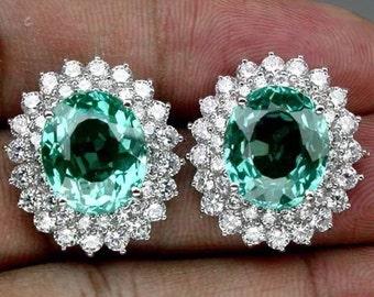 Lab Created Paraiba Tourmaline and Sapphire Earrings