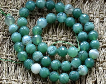 FACETED 8 mm green agate stone beads,agate beads ,Agate Gemstone Chain Beads,agate nugget stone beads loose strands