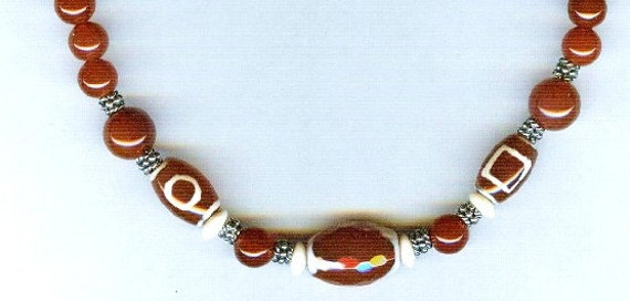 Mens / Unisex Carved Red Agate & Carnelian Necklace Beaded Necklace