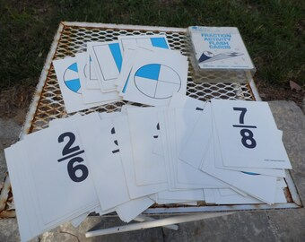 Fraction Activity Math Flash Cards Learning Resources 1987 92 cards with fraction on one side pie graph on other side homeschool tutoring