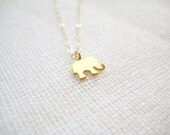 Sterling silver necklace with tiny gold plated elephant charm pendant - Remember