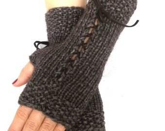 Hand Knit Fingerless Gloves Wrist Warmers Taupe/ Brown Corset  with Suede Ribbons Victorian Style
