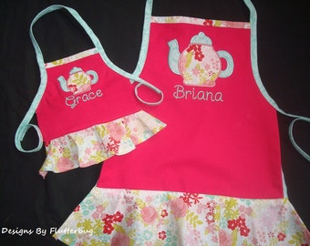 "MATCHING PERSONALIZED Girls and 18"" Doll Apron Set- Childs Play Apron -Cooking Apron- Hot Pink, Aqua and Light Pink with Teapot Design"