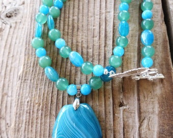 Teal Agate Dyed Jade and Aventurine Beaded Necklace with Agate Pendant