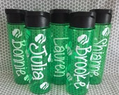 GIRL SCOUT 24 oz. personalized plastic water bottle with straw name and trefoils green emblem troop brownies badges