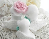 Family Love Birds Cake Topper, Wedding, Anniversary, White, Blush Pink and Mint Green, Bride and Groom Keepsake, Fully Custom