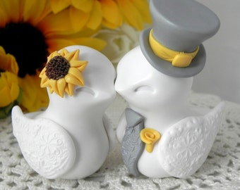 Love Birds Cake Topper, Wedding, Anniversary Sunflower, White,Yellow, and Grey, Bride and Groom Keepsake, Fully Custom