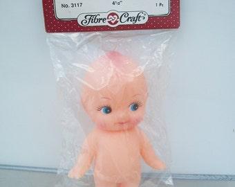 """Packaged Fibre-Craft Plastic Vinyl """"Standing Doll"""" Kewpie Style"""