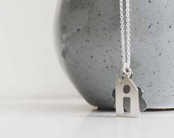 House and Cloud Sterling Silver Necklace - Miniature Refuge Necklace