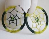 Dream Catcher earrings - Big hoop earrings - big green earrings - Music festival - Whimsical Bohemian jewelry - girlfriend gift idea - Boho