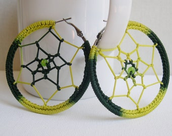 Dream Catcher earrings - Big hoop earrings - big green and yellow earrings - Music festival  Bohemian jewelry - girlfriend gift - Boho chic