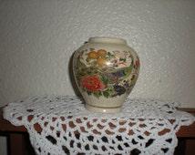 "3"" Peacock Design Oriental vase marked Sato Gordon Collection, Japanese porcelain"